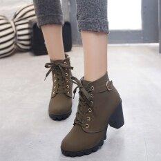 ส่วนลด Hanyu ฤดูใบไม้ร่วงผู้หญิงฤดูหนาวเลดี้ Pu หนังส้นสูงมาร์ตินข้อเท้า Zipper บู๊ทส์รองเท้ากองทัพสีเขียว