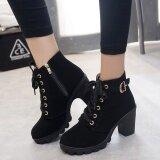 ขาย Hanyu ฤดูใบไม้ร่วงผู้หญิงฤดูหนาวเลดี้ Pu หนังส้นสูงมาร์ตินข้อเท้า Zipper บู๊ทส์รองเท้าสีดำ Unbranded Generic ถูก