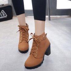 Hanyu ฤดูใบไม้ร่วงผู้หญิงฤดูหนาวเลดี้ Pu หนังส้นสูงมาร์ตินข้อเท้า Zipper บู๊ทส์รองเท้าสีเหลือง.