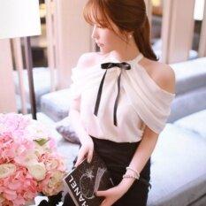 ราคา Hanyu ใหม่สไตล์ฤดูร้อน Blusas คอ Bowknots สีขาวเสื้อเซ็กซี่ปิดไหล่ผู้หญิงเสื้อลำลองชีฟองเสื้อ สีขาว เป็นต้นฉบับ