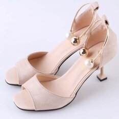 ราคา Hanyu Summer Ladies Fashion Shallow Mouth Fish Mouth High Heeled Shoes Pearl Buckle Sandals Beige Intl ถูก