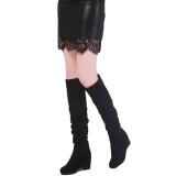 ซื้อ Hanyu รองเท้าบู๊ตแบบเข่าสำหรับผู้หญิง Wedge สีดำ สนามบินนานาชาติ ใหม่