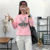 Hanyu Women Ladies Causal Cotton Thicken Animal Rabbit Patten Crew Neck Hoodies Pink Intl เป็นต้นฉบับ
