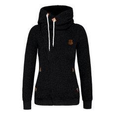 ราคา Hanyu Women S Cotton Thicken Hooded Side Zipper Design Warm Hoodies Black Intl Hanyu เป็นต้นฉบับ