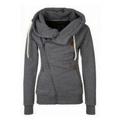 ซื้อ Hanyu Women S Cotton Thicken หน้ากากด้าน Hooded Zipper ออกแบบ Hoodies สีเทาเข้ม สนามบินนานาชาติ ถูก จีน