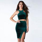 ราคา Haoduoyi เสื้อเซ็กซี่ฤดูใบไม้ผลิและฤดูร้อนใหม่คำ สีเขียวเข้ม ออนไลน์
