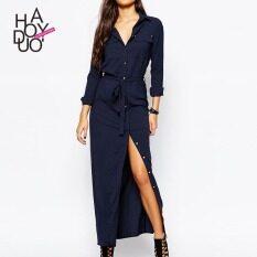 ขาย Haoduoyi ชุดลำลองชุดเดรสแขนยาวหญิงสายรัด กองทัพเรือสีฟ้า