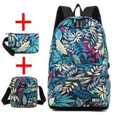 ขาย Haotom Cotton Printing Bag Male Boy Fashion Backpack Female G*rl Junior High Sch**l College Student Knapsack Leisure Canvas Travel S Size Intl ราคาถูกที่สุด