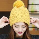 ขาย Haotom Fashion Women Hat Winter Caps Knitted Hats Wool Cap For Woman Lady S Headwear Cloth Accessory Yellow Intl Haotom เป็นต้นฉบับ