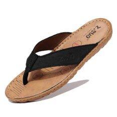 ทบทวน Happy Buy Men S Flip Flops Genuine Leather Slippers Summer Fashion Beach Sandals Shoes For Men Plus Size Eur 38 47 Pantufa Hot Sell Intl