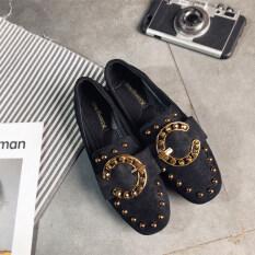 ราคา Harajuku หญิงใหม่รองเท้าหัวตารางรองเท้า ปุ่มสีดำ Unbranded Generic