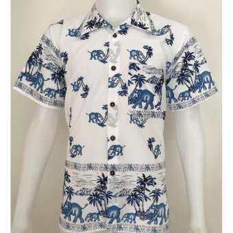 เสื้อผ้าฝ้าย (Hawaii) คอปก กระดุมกะลา พิมพ์ช้าง แขนสั้น