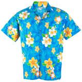 Hawaiian Shirt Cotton เสื้อเชิ้ตฮาวาย Plumeria Frangipani Beach รุ่น Cotton Hw906C Blue เป็นต้นฉบับ