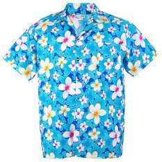 ซื้อ Hawaiian Shirt Cotton เสื้อเชิ้ตฮาวาย Vivid Plumeria Frangipani Beach รุ่น Cotton Hw907C Blue ออนไลน์ ถูก