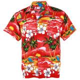 ซื้อ Hawaiian Shirt เสื้อเชิ้ตฮาวาย Hibiscus Chaba Isle Coconut Beach รุ่น Hw264R Red ออนไลน์