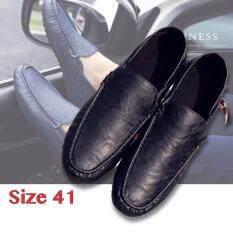 Hayashi รองเท้าหนังสไตล์อังกฤษของชายเกาหลีรองเท้ารองเท้าขับรถ หุ้มข้อได้ เหยียบส้นได้ สีดำ Size 41 เป็นต้นฉบับ