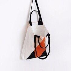 ขาย ซื้อ ออนไลน์ Healthy Club Fabric Bag กระเป๋าผ้า สะพายข้าง รุ่น Graphic 02 ลาย Double Triangle