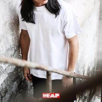 เสื้อยืดเนื้อดี HEAP รุ่นTS02 สีขาว ผ้าฝ้าย 100%Cotton สีไม่ตก ไม่ย้วย-