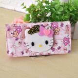 ขาย Hello Kitty กระเป๋าสตางค์ ลายการ์ตูน เด็กหญิง สไตล์เกาหลี ดอกไม้ด้านล่าง Kt ส่วนยาว ดอกไม้ด้านล่าง Kt ส่วนยาว เป็นต้นฉบับ