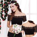 ขาย Hely Top Modal S*xy Strapless Bra Camisole Lace Off The Shoulder Neckline Short Sleeve Short Tank Top Singlet Undershirt Black เป็นต้นฉบับ