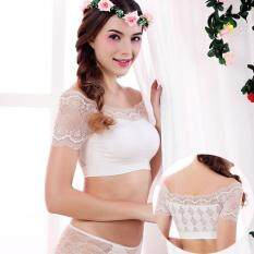 ขาย Hely Top Modal S*xy Strapless Bra Camisole Lace Off The Shoulder Neckline Short Sleeve Short Tank Top Singlet Undershirt White Unbranded Generic ใน จีน