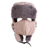 โปรโมชั่น Hengsong หน้ากากหมวกกันน้ำผ้าขนสัตว์หมวกฤดูหนาว กากี ใน จีน