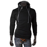 ซื้อ Hequ Fashion Front Double Zipper Design Thickened Hip Hop Men Long Sleeve Pullover Hoodies New Style Top Quality Black Intl ออนไลน์