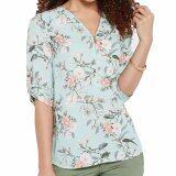 ทบทวน ที่สุด Hequ Fashion Women Sleeves Mint Rose Zip Neckline Blouse Shirts Tops Blue Intl