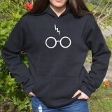 โปรโมชั่น Hequ Harry Potter Fashion Women Long Sleeve Lightning And Glasses Casual Hoodie Black Intl