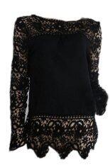 ซื้อ Hequ Lace Sleeve Chiffon Blouses Shirts Hollow Crochet Tops Black ถูก ฮ่องกง