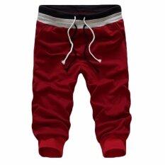 โปรโมชั่น Hequ กางเกงกีฬาผู้ชายเต้นรำ Baggy Jogger กางเกงลำลองกางเกงขาสั้นกางเกงขาสั้นกระโปรงกางเกงสีแดง นานาชาติ Hequ ใหม่ล่าสุด