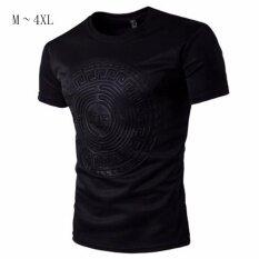 ขาย ซื้อ Hequ ใหม่ผู้ชาย 3D นูนแขนสั้นเสื้อยืดฤดูร้อนสีดำพลัสขนาดลำลองบางสีดำ สนามบินนานาชาติ