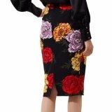 ขาย Hequ Summer G*rl Skirt Flower Daisy Printed Knee Length Women Pencil Skirt Black Intl