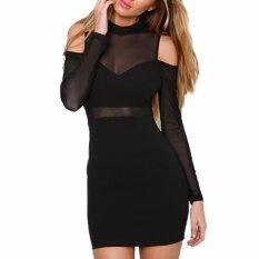 ขาย Hequ Summer Long Sleeve Bandage Bandage Retro Mesh Patchwork Bodycon Dress Women Black Intl ผู้ค้าส่ง