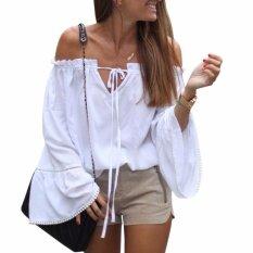 ซื้อ Hequ Summer Slash Neck Ruffles Women Tops Tees Off Shoulder Blouse Shirts Top White Intl Hequ เป็นต้นฉบับ