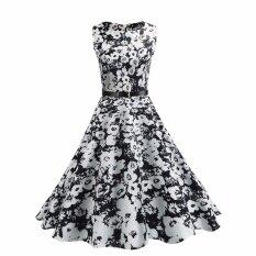 ซื้อ Hequ ชุดวินเทจฤดูร้อนพิมพ์ลายดอกไม้ 1950 วินาทีหรูหราสง่างามชุดกระโปรงไม่มีแขนเสื้อสีขาว สนามบินนานาชาติ ออนไลน์ ถูก