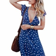 ขาย Hequ Vintage Polka Dot Print Summer Long Dress V Neck Women Causal Dress Blue Intl ใหม่