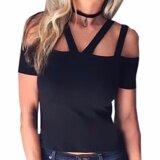 ราคา ราคาถูกที่สุด Hequ Women T Shirtsstrap Bandage T Shirt Hollow Out Women Tops Tee Shirts Women Clothing Black Intl