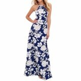 Hequ Womens Summer Maxi Dresses Ladies Sleeveless Halter Neck Floral Print Vintage Dress Multicolor Intl เป็นต้นฉบับ