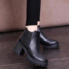 โปรโมชั่น รองเท้าส้นสูง Martin รองเท้าหนากับรองเท้าบู๊ทผู้หญิงซิป Martin Boots Bk 35 ถูก