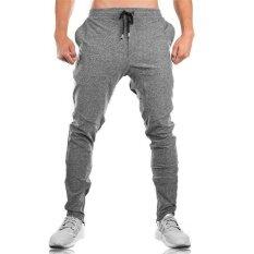 ราคา คุณภาพสูง 2017 ฤดูใบไม้ร่วงใหม่กีฬากางเกงผู้ชายออกกำลังกายฟิตเนสกางเกงยีนส์ Sweatpants กางเกงเพาะกายกางเกงผู้ชายผอมกางเกง สีเทาอ่อน นานาชาติ ใหม่ล่าสุด