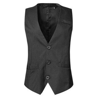 High Quality Men's Fashion Business Vests Slim Fit Casual Suit Vest(Black) - intl