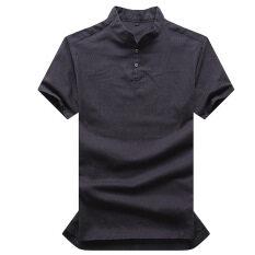 ขาย คุณภาพสูงฤดูร้อนขาสั้น Iron ฟรีลินินผ้าลินินชายเสื้อยืด กองทัพเรือ เป็นต้นฉบับ