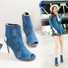 ขาย ซื้อ ออนไลน์ ผู้หญิงที่มีคุณภาพสูงเซ็กซี่ยืดหยุ่นผ้ายีนส์รองเท้าส้นสูงรองเท้าบูทข้อเท้า สีฟ้าอ่อน สนามบินนานาชาติ
