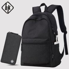 Hk ชายที่เดินทางมาพักผ่อนกระเป๋าเดินทางกระเป๋าคอมพิวเตอร์กระเป๋าสะพายไหล่ มาตรฐานรุ่นสีดำเย็นแพคเกจ เป็นต้นฉบับ