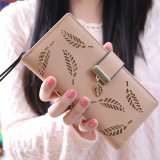 ราคา Hollow Out Leaf Women Wallet Long Pu Leather Ladies Purse Card Holder Apricot Intl จีน