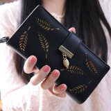 ราคา ราคาถูกที่สุด Hollow Out Leaf Women Wallet Long Pu Leather Ladies Purse Card Holder Black Intl