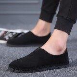 โปรโมชั่น หงส์แดงรองเท้าผู้ชายเก่าปักกิ่งขี้เกียจรองเท้าวรรคเดียวกันคล่องแคล่ว สีดำ Unbranded Generic