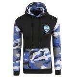 ซื้อ Hooded Fleece Sweater Hedging Jogging Sportswear Stitching Camouflage Men Clothing Black Navy Blue Unbranded Generic ออนไลน์