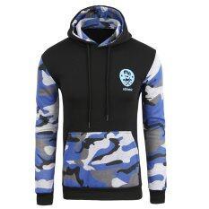 โปรโมชั่น Hooded Fleece Sweater Hedging Jogging Sportswear Stitching Camouflage Men Clothing Black Navy Blue จีน
